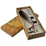 Dip Pen - Set per scrittura calligrafia, con 5 pennini di ricambio e base Nib per calligrafia grigio