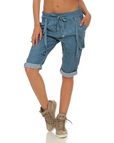 Zarmexx capri da donna pantalone caldo pantaloncini bermuda in cotone con lacci jeans blu taglia unica (38-44)