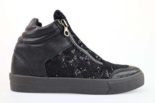 scarpe donna MADAME PIGALLE nero pelle paillettes AM788 (36 EU)