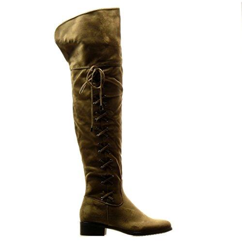 Angkorly - damen Schuhe Oberschenkel-Boot Stiefel - Reitstiefel - Kavalier - Flexible - Spitze - Knoten Blockabsatz 3.5 CM Khaki