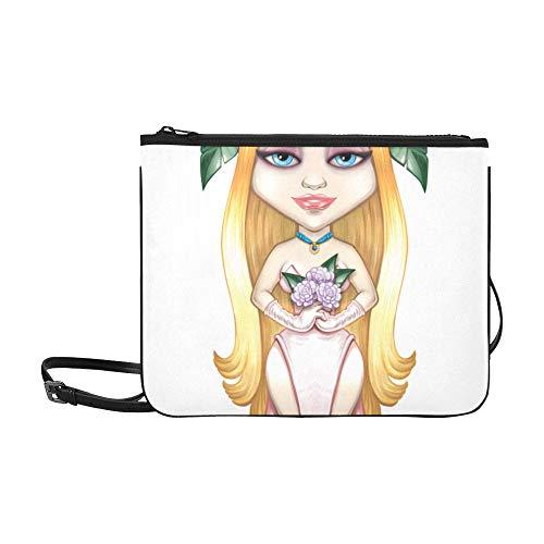 es schönen Mädchen-Todes-Musters kundenspezifische hochwertige Nylon-dünne Handtasche Umhängetasche Umhängetasche ()
