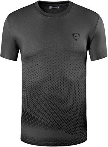 jeansian Herren Sportswear Quick Dry Short Sleeve T-Shirt LSL3225 (US XL(180-185cm 75-80kg), LSL225_DarkGray) (Sport-fußball-t-shirt Usa)
