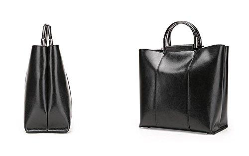 1ce34777e0213 ... XinMaoYuan Große Kapazität Paket Einfach Atmosphäre Damen Schulter  Diagonal Paket Öl Wachs Leder Handtasche Schwarz