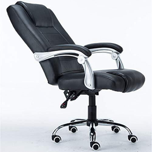 NSCHJZ Gepolsterte Computerstuhl, Chefsessel, Bürostuhl Schreibtischstuhl Ergonomisches Design Drehstuhl Hoch Rücken mit Ausziehbarem Fußraste Sitzfläche aus Kunstleder Wippmechanik, Black -
