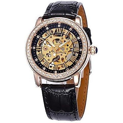 Quadrante cava fascia di cuoio cassa in oro diamante orologio da polso automatico meccanico delle donne (colori assortiti) ( Colore : Nero )