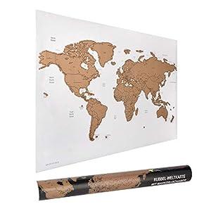 ewtshop® Rubbel-Weltkarte, 60 x 40 cm mit Marker und Schaber, Weltkarte zum Rubbeln