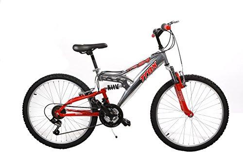 """Mario Schiano Bicicletta 24"""" Biammortizzata Alloy- Alluminio 18V 00162 ROSSA"""