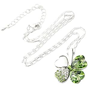 """Swarovski Elements Crystal Four Leaf Clover Pendant Necklace 19"""" With A Gift Box -CN9034SG"""