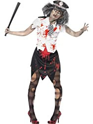 Smiffy's Women's Zombie Policewoman Costume Skirt Shirt with Tie and Hat, Multi, Small