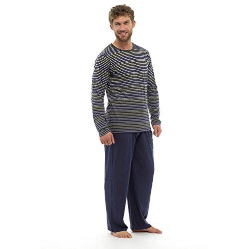 Herren Langes Pyjama- / Schlafanzug-Set, warm, gestreift Navy