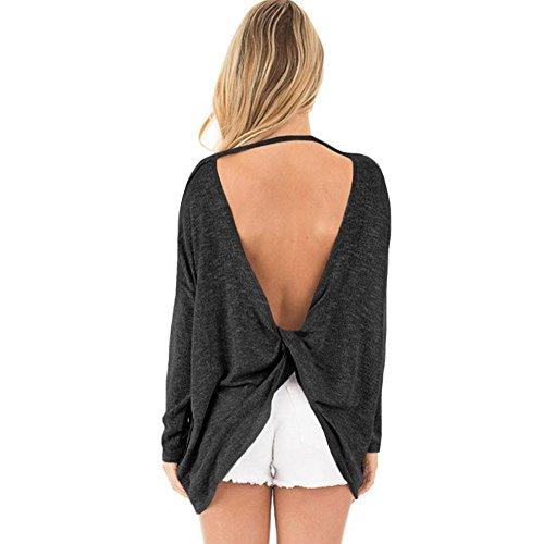 frau sweatshirt stricken beiläufig die gabel teilen rückenfrei lange ärmel lose elastizität sweatshirts pullovers tops . black . m (Frauen Gehorchen Jeans)