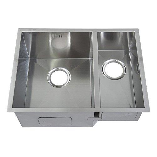 1,5 Handgefertigtes Nullradius eckiges Küchen Doppel Spülbecken für den Unterbau. Gebürstete Edelstahl Unterbauspüle (DS009 L) -