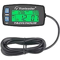 Contador de horas Runleader Tacómetro,Recordatorio de mantenimiento,RPM de alerta, Pantalla retroiluminada,Batería reemplazable para generador de cortacésped Dispositivo y de gas (Button-BU)