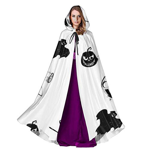 CAP PILLOW HOME Unisex Halloween Costume Hooded Cloak Happy Halloween! Pumpkins Witch Ghost Caldron Black White for Halloween Halloween Cosplay Outwear for - Black Und White Ghost Kostüm