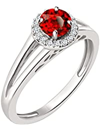 Silvernshine 7mm Red Garnet & Sim Diamond Halo Engagement Ring In 14K White Gold Plated