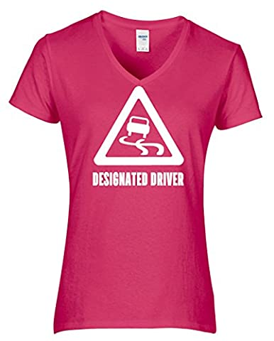 HippoWarehouse Designated Driver womens V-neck short sleeve t-shirt (Specific size guide in