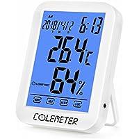 ermómetro Higrometro - COLEMETER Termo-higrómetro Digital con Gran Pantalla Táctil con Medidor de Humedad Temperatura para Hogar, Oficina, etc.