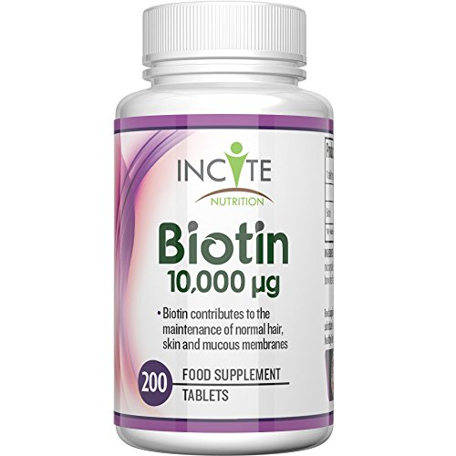 Biotin Hair Growth Vitamins 10000MCG 200 6mm Tablets MONEY BACK GUARANTEE UK Made BUY 2 GET FREE UK DELIVERY 6 Month + Supply Best Supplements for Hair Loss Best Beauty Treatment for Men and Women - Incite Nutrition Biotin B7 Complex Better Than Shampoo Not 5000MCG Capsules Benefits Healthy Hair , Nail Growth and Skin UK Manufactured Test
