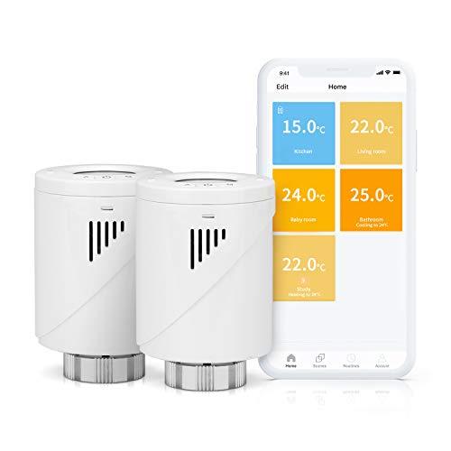 Meross Smart WLAN Heizkörperthermostat, benötigt Hub,mit LCD-Anzeige Programmierbar Intelligenter Heizungsthermostat für Einzelne Räume, Kompatibel mit Alexa, Google Assistant und IFTTT (2 Stücke)