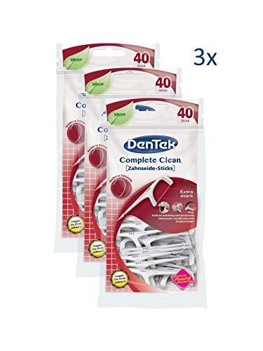 3 x 40 Stck. Dentek Complete Clean Zahnseide Sticks, reißfest, Zahnreinigung der Zahnzwischenräume, Zahnseide mit Minzgeschmack, Zungenschaber, Zahnstocher