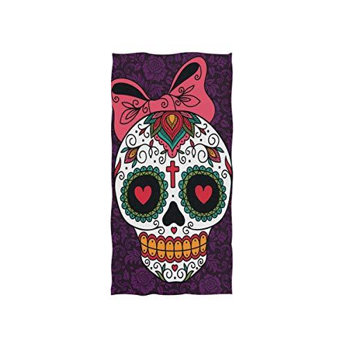 Naanle - Toalla de baño Multiusos con diseño de Calavera Mexicana y azúcar para baño, Gimnasio, Deportes, Viajes, SPA, Hotel, 76,2 x 38,1 cm