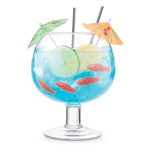 Final Touch Fischschale, Cocktailballon, groß, 1,3 l, Margarita Daiquiri Blue Lagoon Margarita Gläser