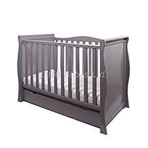 New Pinewood Grey Sleigh Mini COT Bed & Drawer + British Made HIGH Density Foam Safety Mattress - Baby COT Transfer to Junior Bed m-kids Multifunctional changing table for many years of use - easy to turn into a junior desk when your child is not using diapers anymore Adjustable changing plate for optimal conception with your baby - without the need for too High edges for optimal safety 2