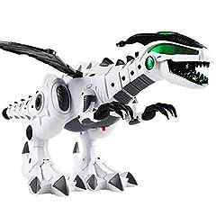 Idea Regalo - KiGoing Dinosauro Giocattolo Robot Elettronico, Dinosauri Ambulanti, Giocattoli con Audio, Illuminazione, Spitfire, Shake Tail e Ali