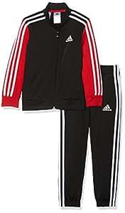 adidas CE8597, Tuta Bambino, Multicolore (Nero/Rosso/Bianco), 4-5 anni (taglia produttore: 110)