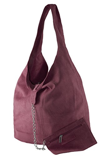 BORDERLINE - 100% Made in Italy - Borsa Sacca da Donna Sfoderata in Vero Camoscio - SARA Bordeaux