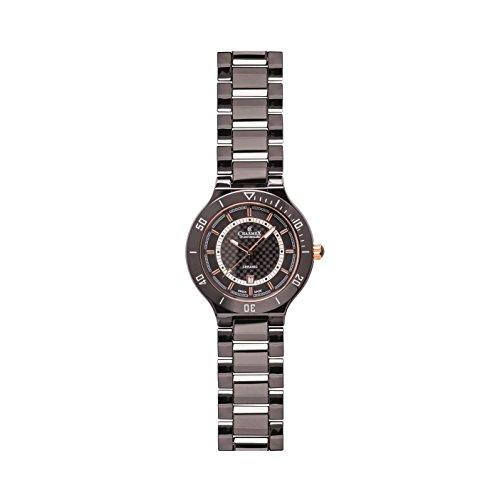Charmex San Remo 43mm del hombre banda de cerámica de color negro y funda analógico de cuarzo reloj 2691