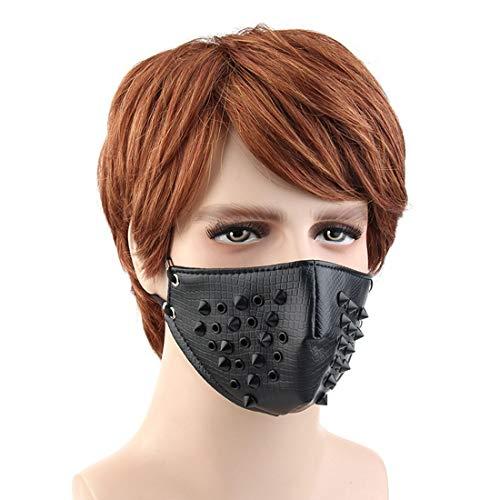 Lindan shangmao Cosplay Airsoft Wind Coole Maske Niet Stil Motorrad Anti Staubmaske Half Face Gothic Niet Steampunk Biker Männer (Farbe : Schwarz) (Gun-alle Schwarz Bb)