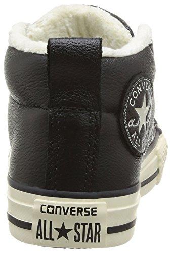 Converse, Chuck Taylor All Star Junior Street Leather Shearling MID, Sneaker, Unisex - bambino nero (Schwarz (8 Noir))