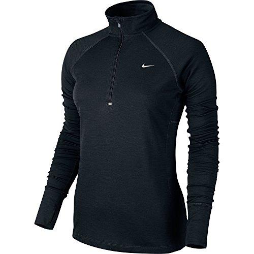 NIKE Damen T Shirt Wool 1/2 Zip Layer System, Black/Reflective Silver, L, 546045-010