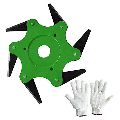Euopat 6 Stahlklingen-Trimmer-Kopfschneider + EIN Paar Handschuhe, Rasierapparat-Mäherzubehör, Jäten-Maschinenköpfe für Hausgarten-Hinterhof-Obstgarten-Park-landwirtschaftliche Verwendung