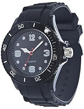 Unisex Bunt Silikon Uhr watch Armbanduhr Damenuhr Herrenuhr Uhr Jenny Trend Schwarz