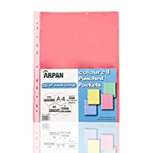 Arpan A4 104 Strong Transparent Coloured Poly Punched Pockets Sleeves - Wallets (Multi Coloured)