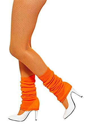 Smiffy's Unisex Adult Neon Pink Leg warmers, Neon Orange, One Size, Back to the 80's, 31048