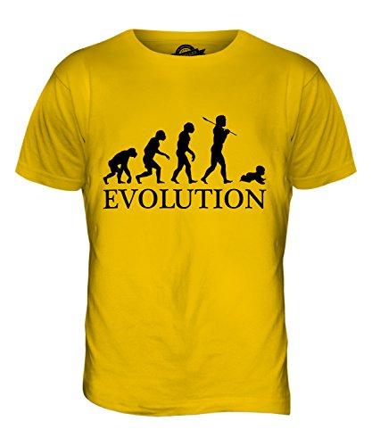 CandyMix Bambino Evoluzione Umana T-Shirt da Uomo Maglietta Giallo Scuro