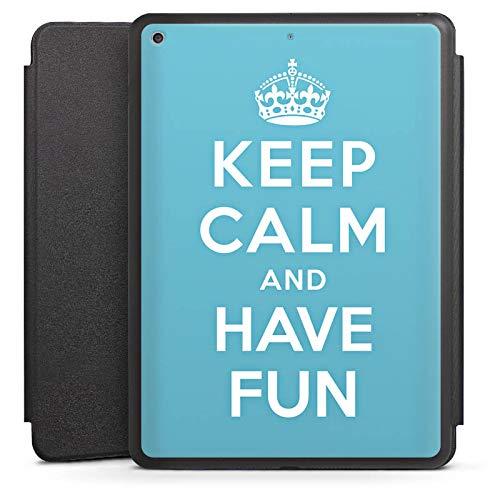 DeinDesign Smart Case schwarz kompatibel mit Apple iPad 2017 Hülle mit Ständer Schutzhülle Keep Calm Fun Spass