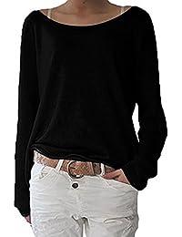 ZANZEA Damen Langarm Lose Bluse Hemd Shirt Oversize Sweatshirt Oberteil Tops