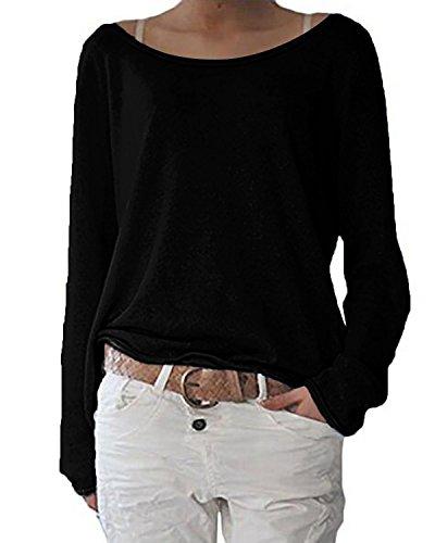 ZANZEA Damen Langarm Lose Bluse Hemd Shirt Oversize Sweatshirt Oberteil Tops Schwarz EU 36-38/Etikettgröße S