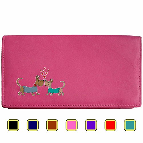 - 41EodQci7EL - Love Dogs Klassek Real Leather Womans Purse Wallet small Dogs in love puppy Present Gift for her Wife Girlfriend (Pink)