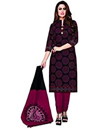 f09b9f1282 Ganpati Women's Cotton Unstitched Salwar Suit Material/Churidar Suit  (DSM90016, Multicolour, Free