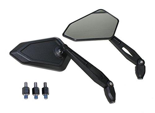 Spiegel Paar Arrow schwarz mit E-Nummer, M8 Gewinde inkl. Adapter für Motorrad Moped Mofa Roller Quads