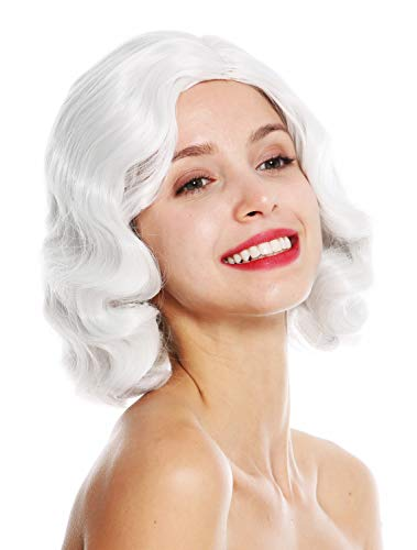 Preisvergleich Produktbild WIG ME UP - GFW1726-001 Damenperücke Perücke 20er Jahre Swing Jazz Charleston Chicago Mittelscheitel Wellen wellig Altweiß Weiß-Grau