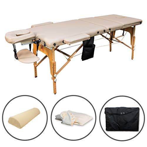 Massunda All Incl | Massage-Liege klappbar und höhenverstellbar | Voll-Holz | Mobiler...