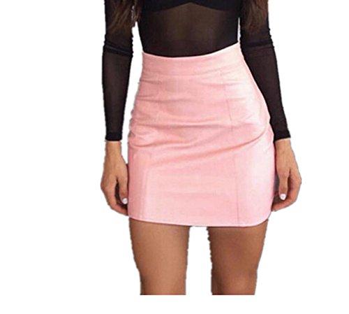 Dress Skirt Longra® Women 2 Colors Simple PU Leather High Waist Pencil Hip Short Mini Skirt , (S-XL) ! ! (Asian Size:XL, Pink)