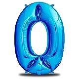 """Luftballon Geburtstag XXL Blau - Riesen Folienballon in 40""""   101cm Geburtstagsdeko   Ballon Zahl Deko zum Geburtstag   fliegt mit Helium"""