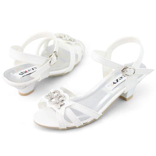 SHOEZY ENFANTS filles Noel Decontracte Diamants cheville Strap Sandales a talons bas Blanc